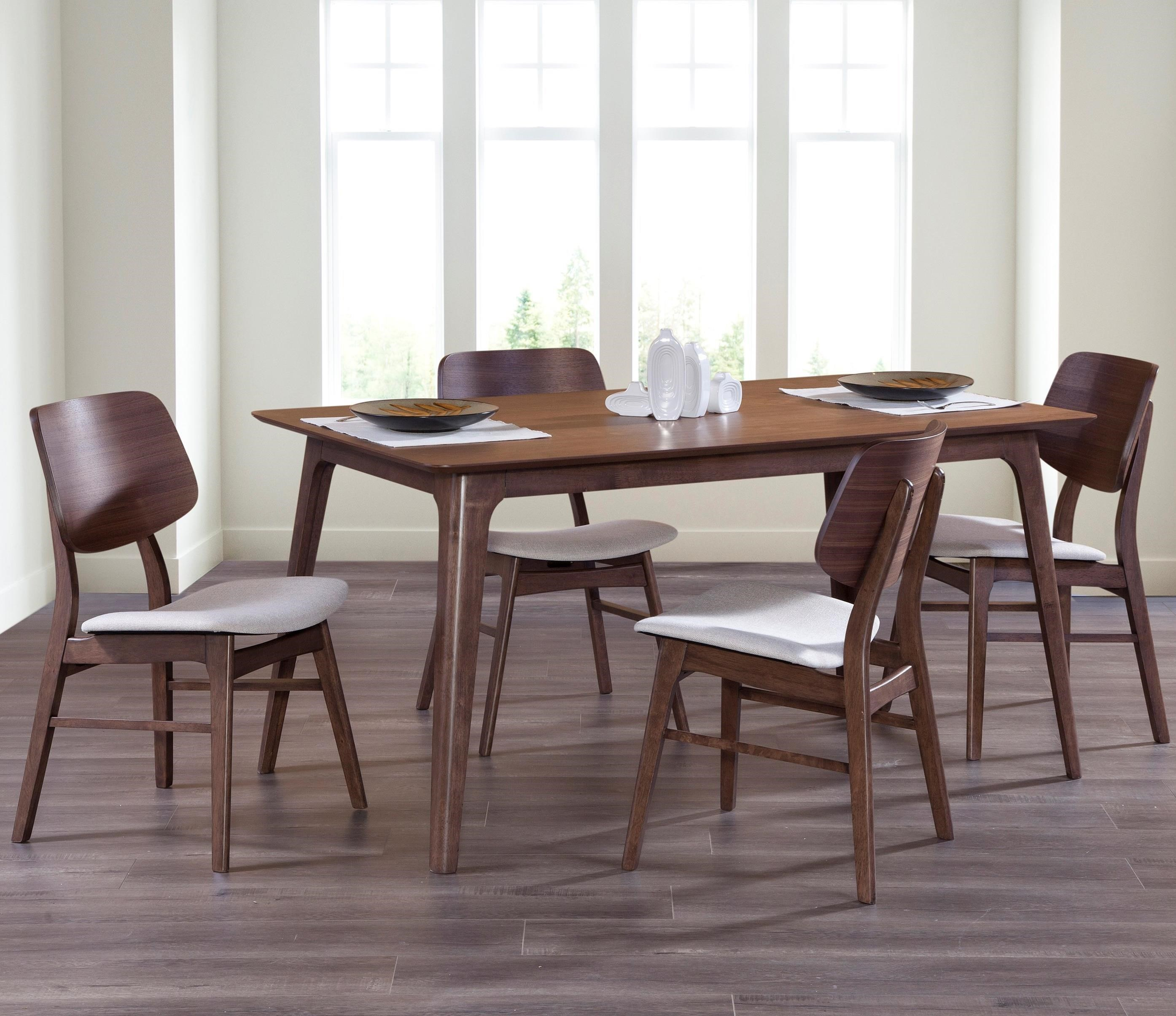 New Classic Furniture Oscar D1651 11 20 5 Piece Mid Century Modern Dining Set With 60 Rectangle Table Del Sol Furniture Dining 5 Piece Sets
