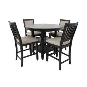 Black Round Counter Table & 4 Counter Chairs