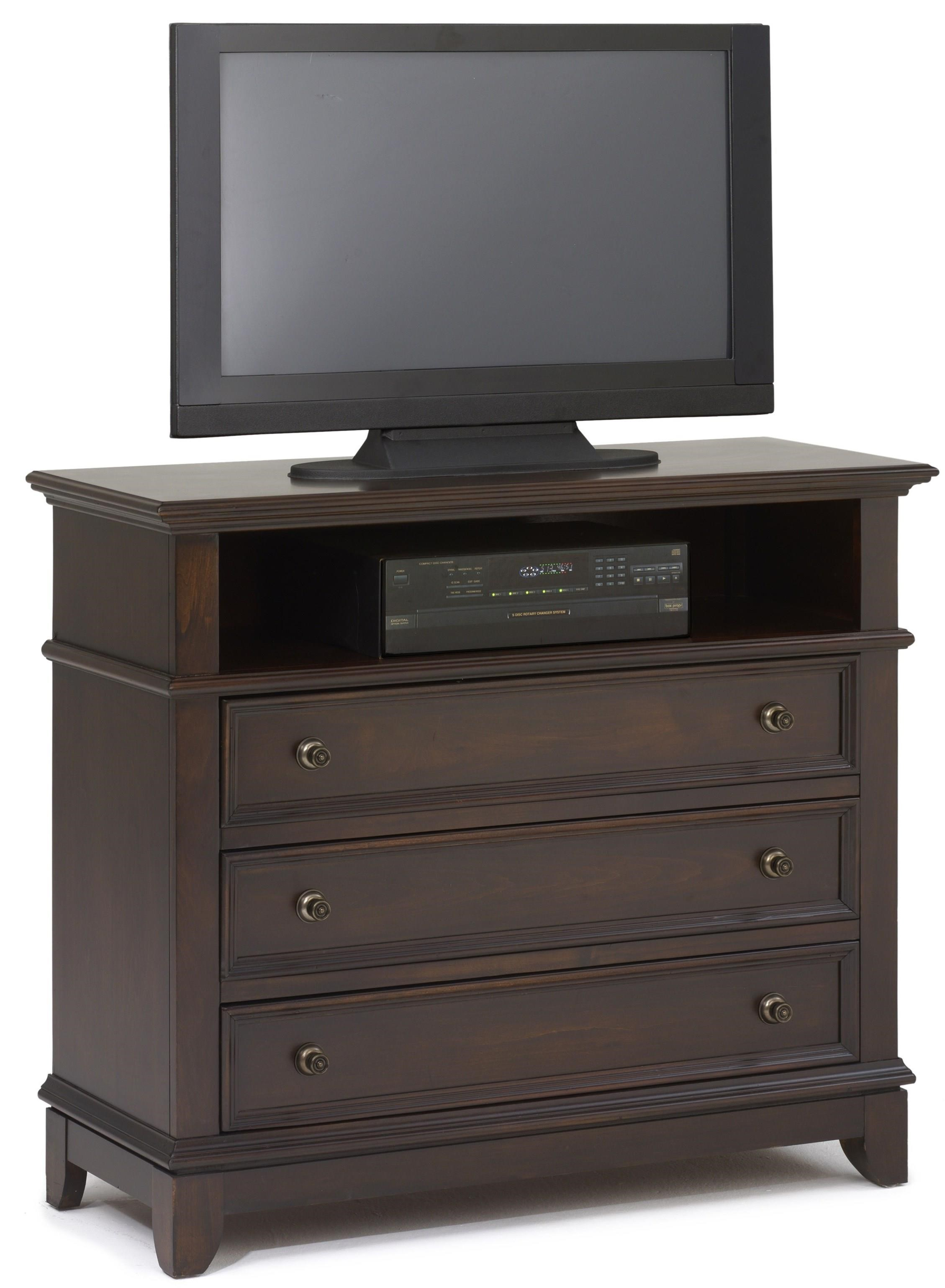 Three Drawer Media Chest With Open Compartment Prescott