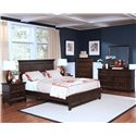 New Classic Prescott Queen Headboard and Footboard Bed - Shown in Room Setting with Nightstand, Chest, Dresser and Mirror