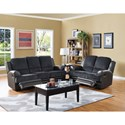 New Classic Rico Casual Reclining Loveseat with Leather Match Flared Arms