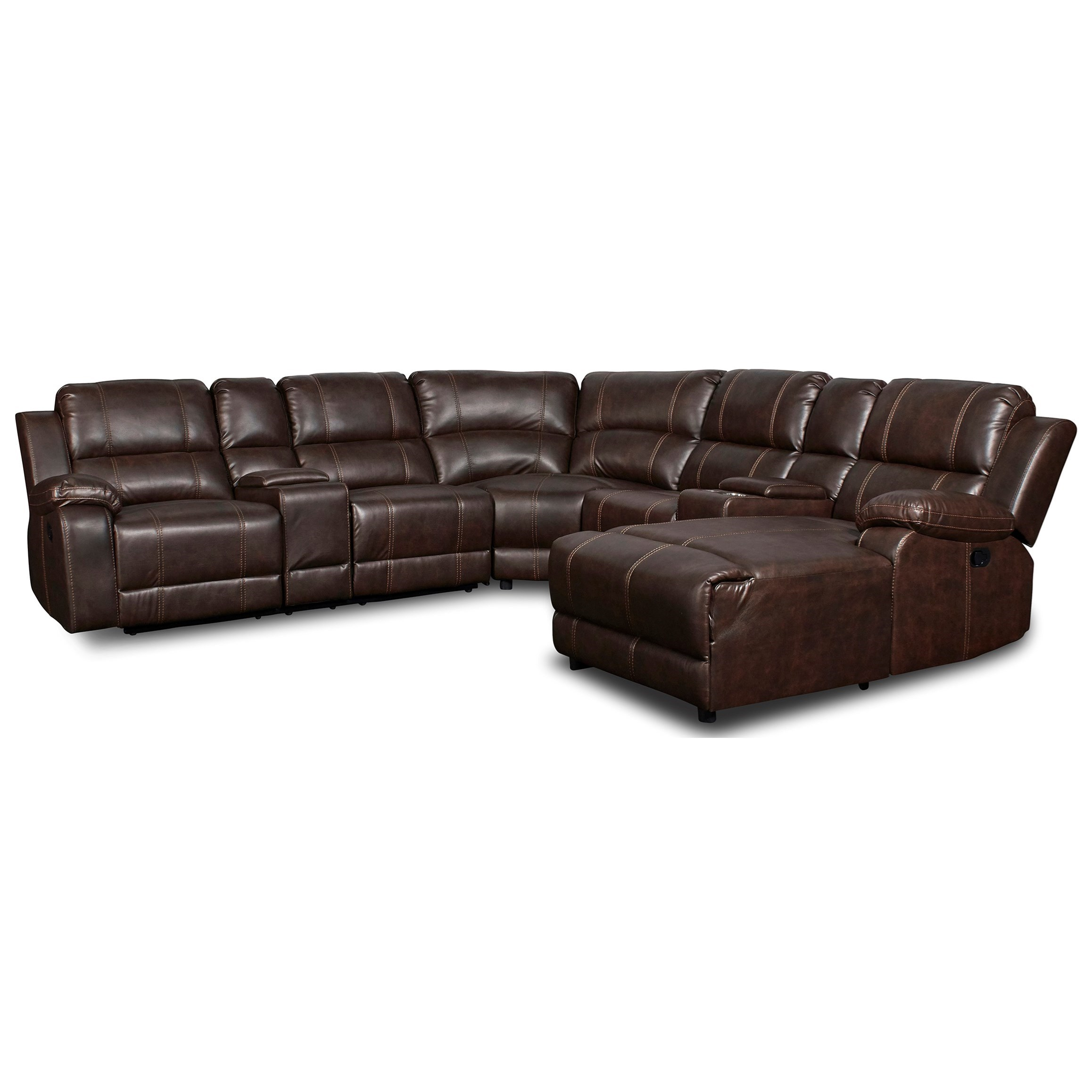 Rivers Reclining Sectional with Chaise by New Classic at Wilcox Furniture