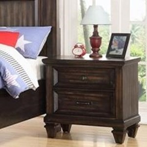Traditional Youth Bedroom 2 Drawer Nightstand with Felt-Lined Top Drawer
