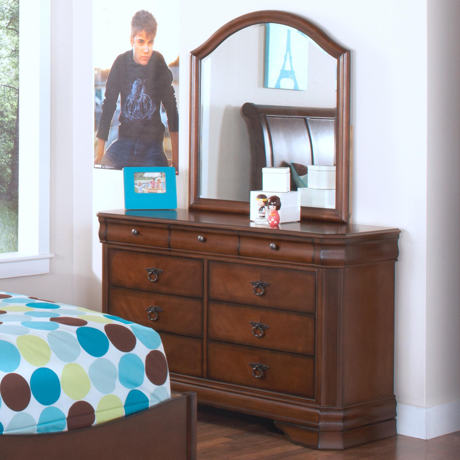 New Classic Sheridan Youth Dresser w/ Beveled Mirror - Royal Furniture - Dresser u0026 Mirror