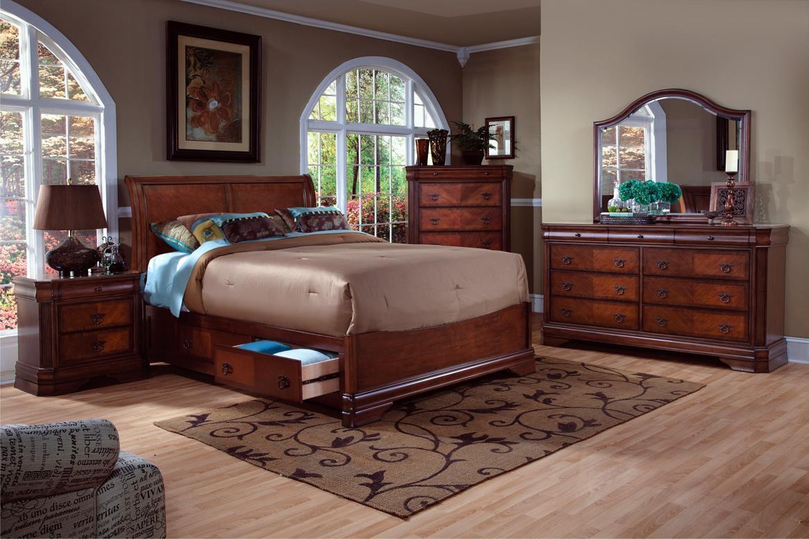 Queen Storage Bed, Dresser, Mirror & Nighsta