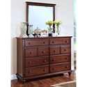 New Classic Spring Creek Eight Drawer Dresser with Metal Drawer Knobs