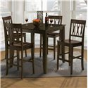 New Classic Style 19 Small Counter Height Table and Wood Chairs - Item Number: 04-1905-012+4x04-0605-020