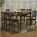 New Classic Style 19 Counter Height Dining Table with Optional Leaf - Shown with Abbie All Wood Counter Height Chairs
