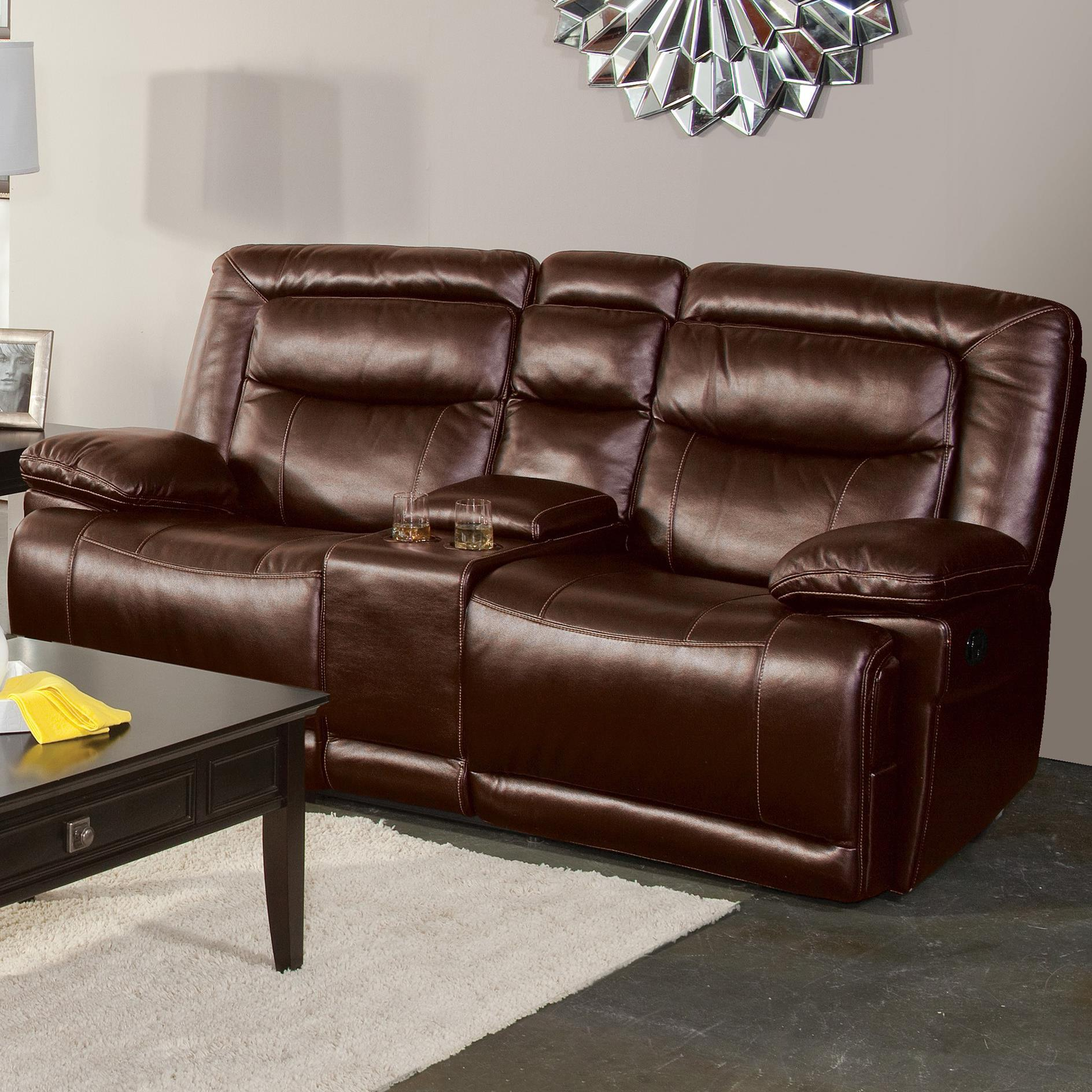 Torino Casual Dual Recliner Console Loveseat With Pillow