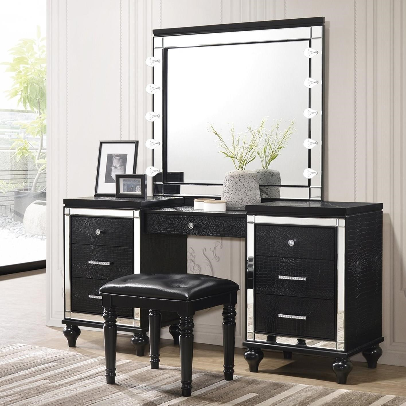 New Classic Valentino Vanity Lighted Mirror And Stool Set Furniture Superstore Rochester Mn Vanities Vanity Sets