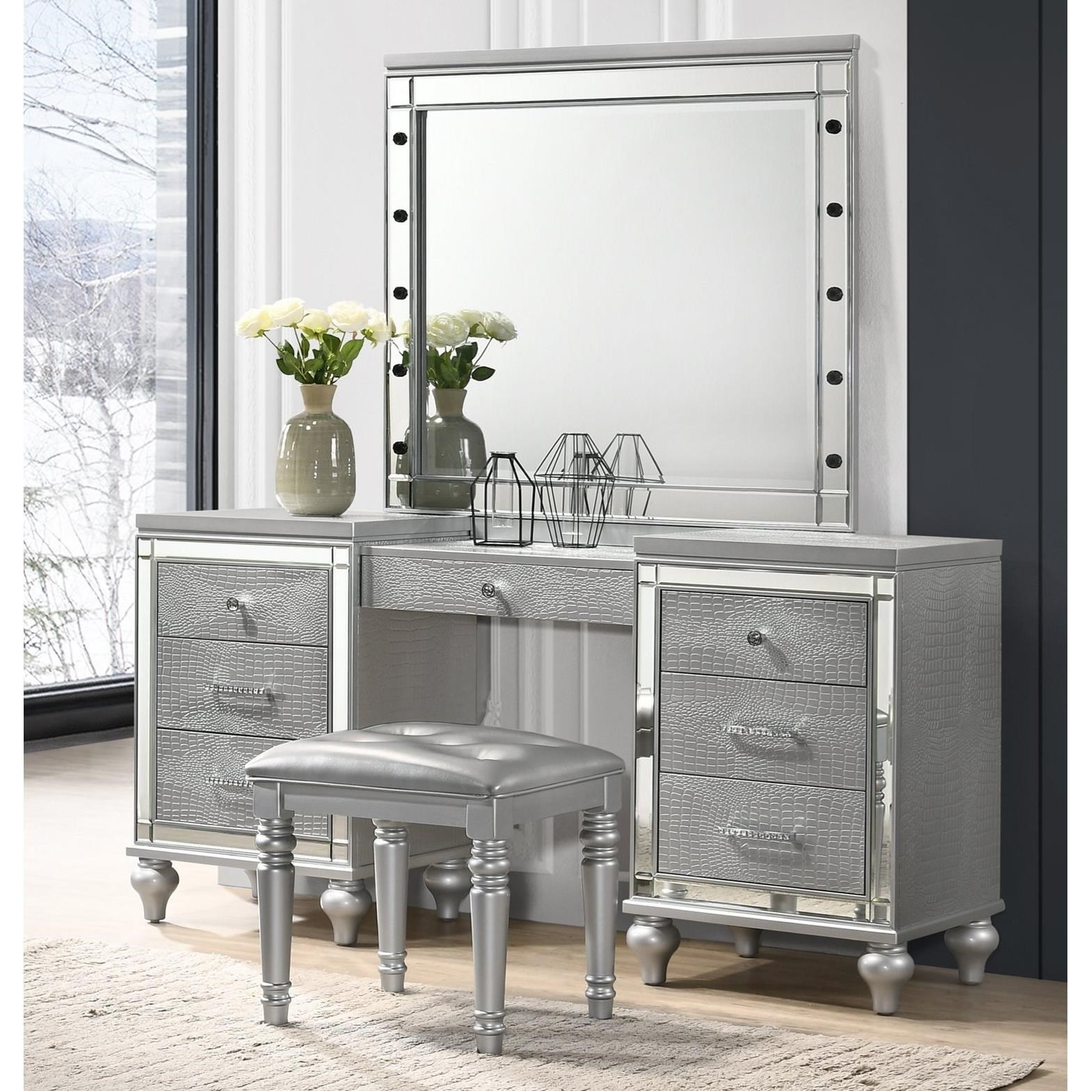 New Classic Valentino Vanity And Lighted Mirror Set Furniture Superstore Rochester Mn Vanities Vanity Sets