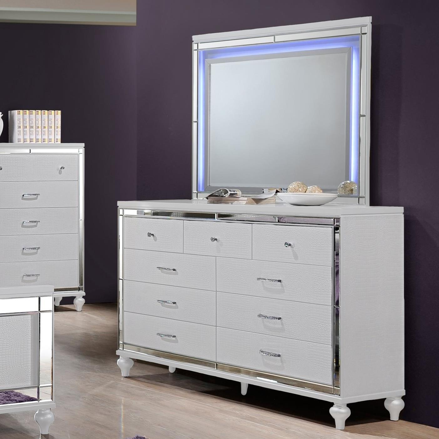 New Classic Valentino Nine Drawer Dresser And Led Backlit Mirror Wilcox Furniture Dresser Mirror Sets