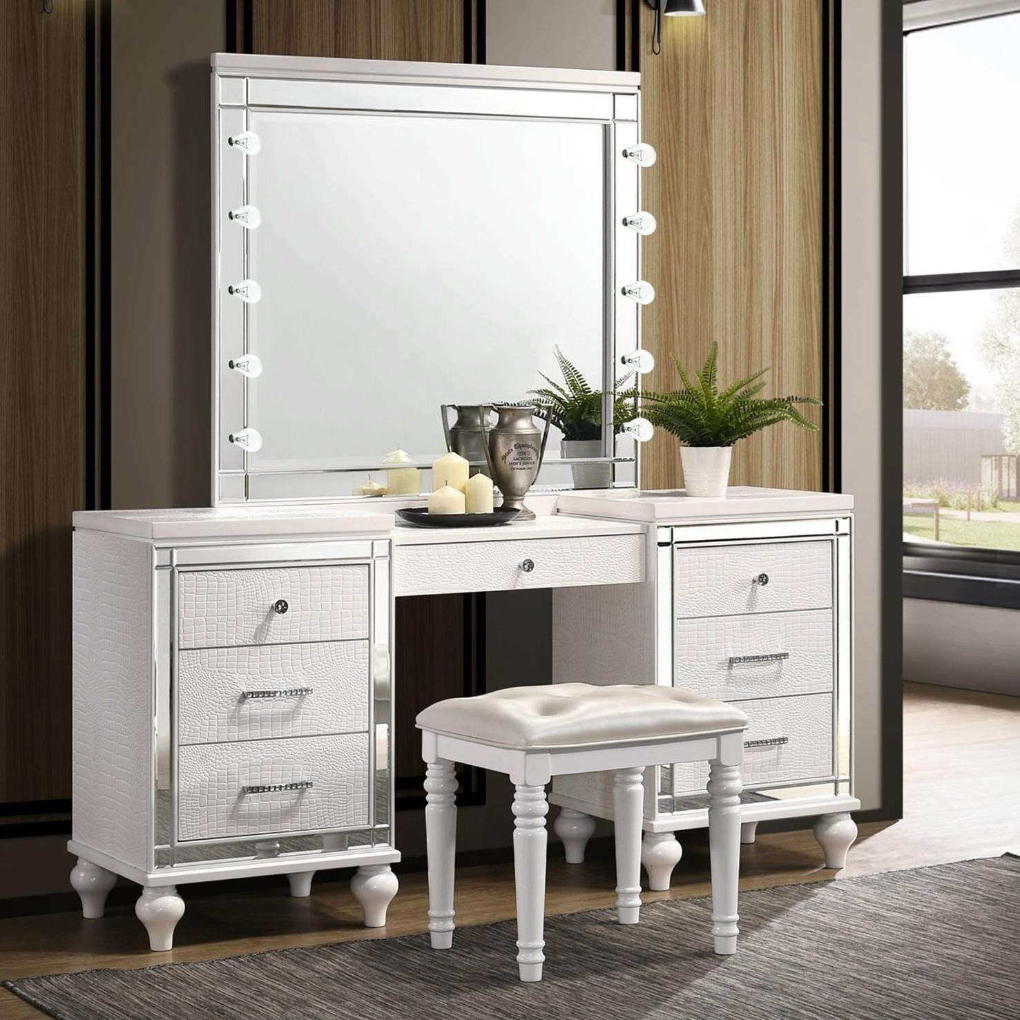 New Classic Valentino Vanity Lighted Mirror And Stool Set Wilcox Furniture Vanities Vanity Sets