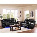 New Classic Jet Casual Power Reclining Sofa with Lighted Base