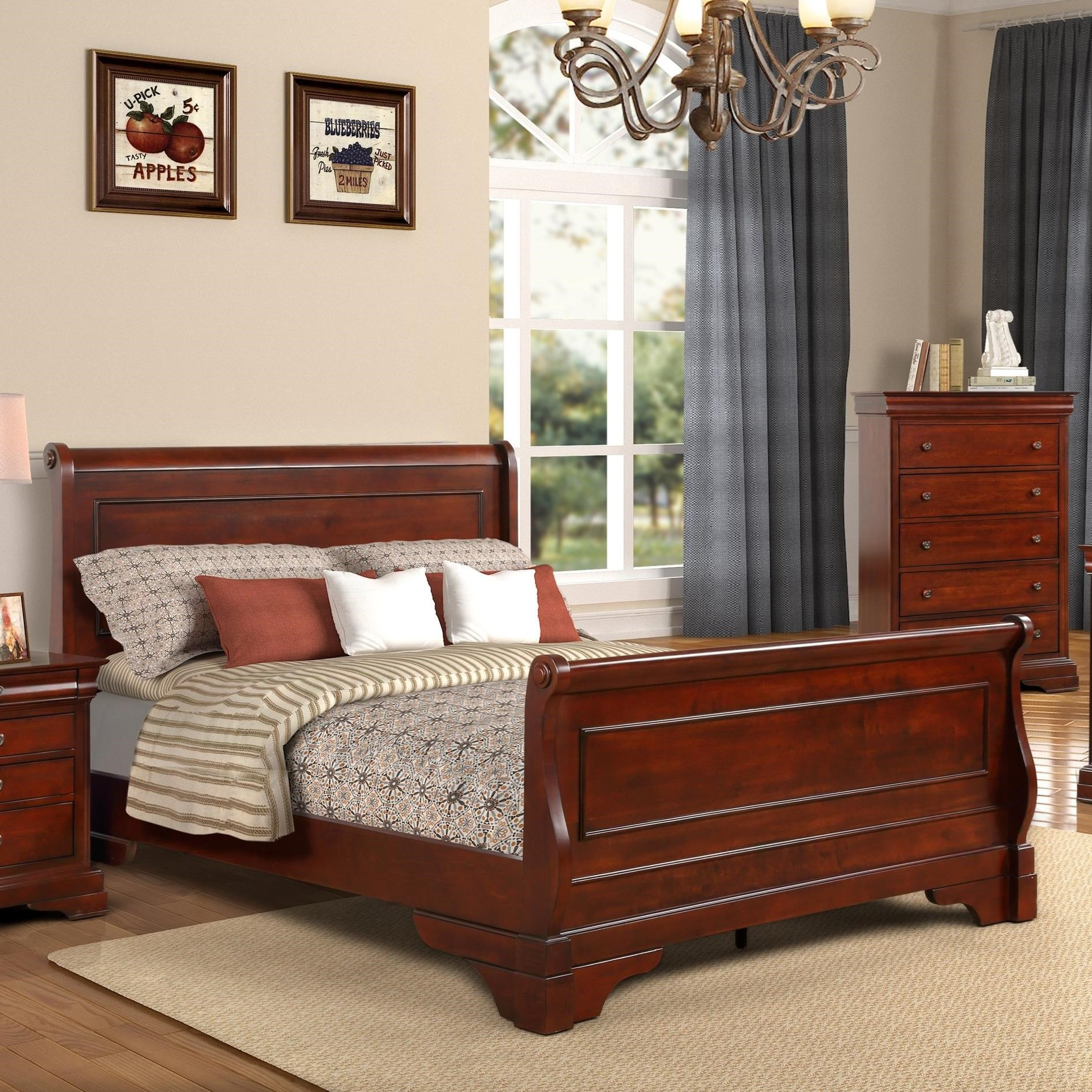 - New Classic Versaille Traditional Queen Sleigh Bed Wilcox