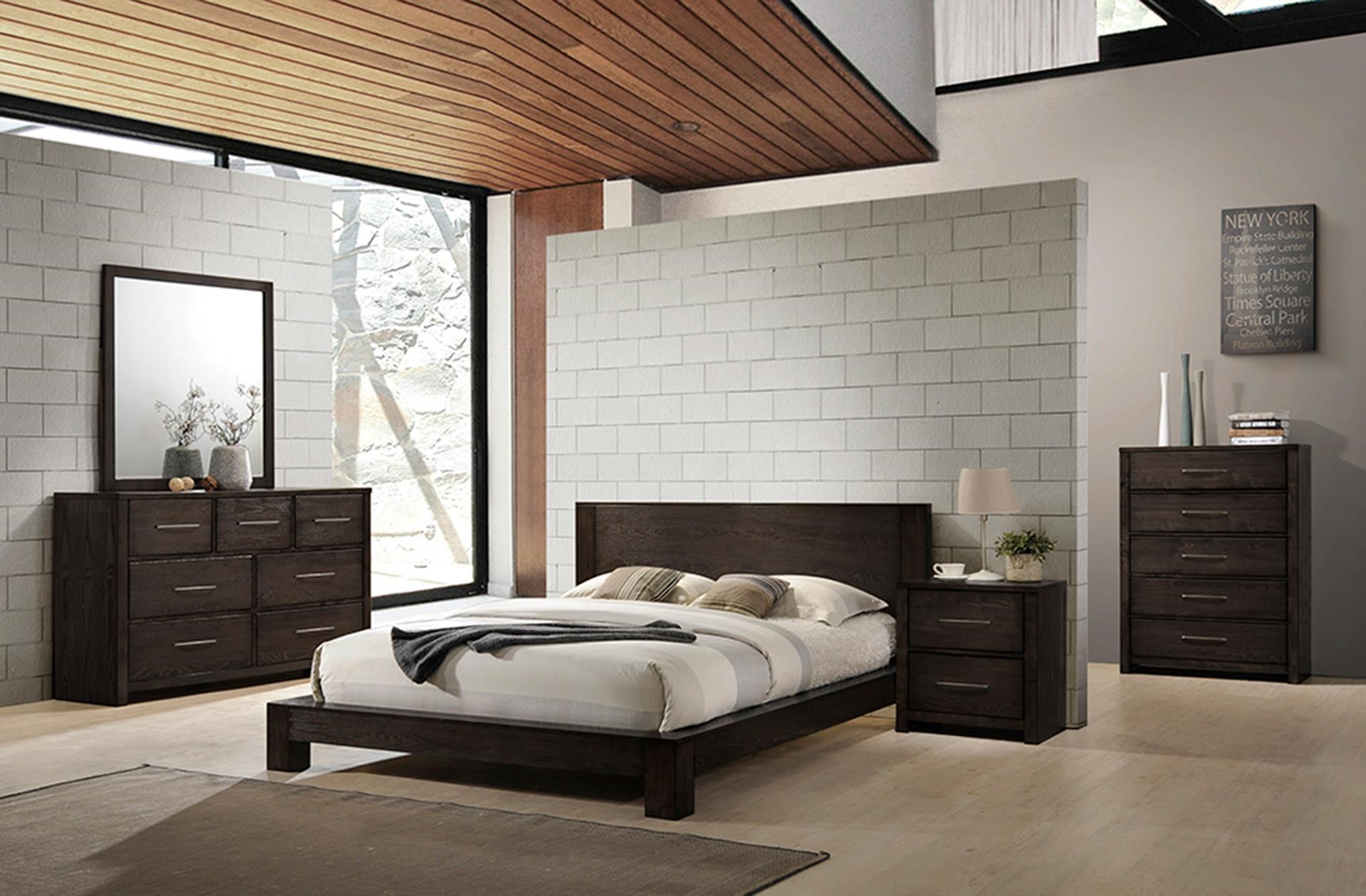Queen Platform Bed, Dresser, Mirror, and Nig