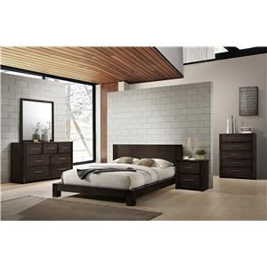 Queen Platform Bed, Dresser, Mirror, and Nig