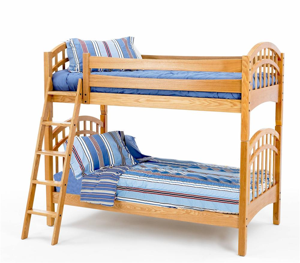 New Classic Casual Oak Youth Twin/Twin Oak Bunk Bed - Item Number: BK0094B+RB
