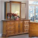 New Classic Honey Creek (6) Drawer Dresser - Shown with Wing Mirror