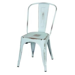 Metropolis Metal Side Chair, Distressed Aqua