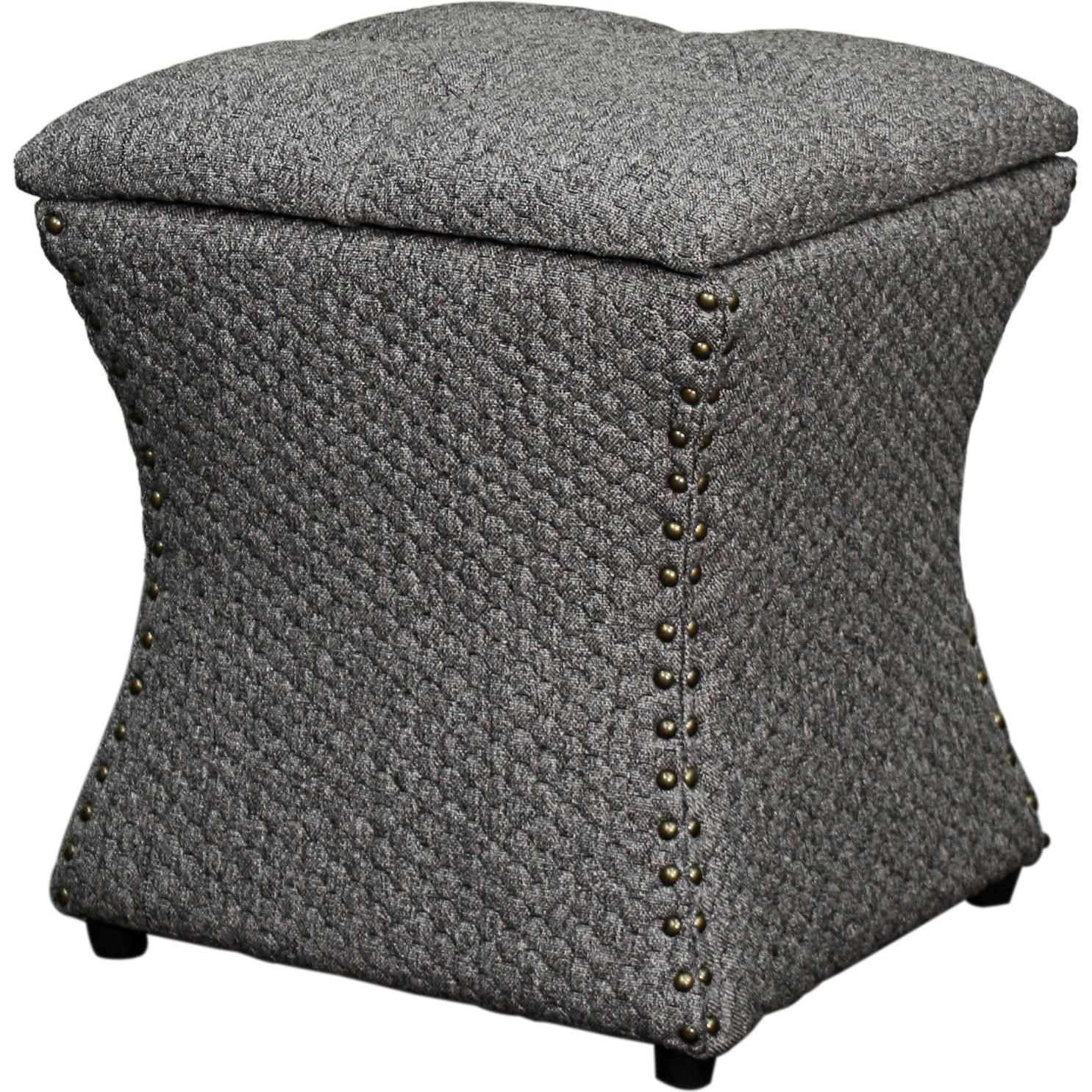 New Pacific Direct Ottomans Nailhead Stoarge Ottoman Gray