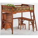 Night & Day Furniture Spice Ginger Full Loft Bed with Curvy Desk