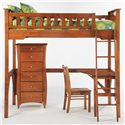 Night & Day Furniture Spice Ginger Full Loft Bed with Curvy Desk - Shown with Chair and Lingerie Chest