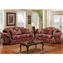 Noahs Manufacturing 1214 Traditional Stationary Sofa - Shown in Living Room Setting with Matching Loveseat