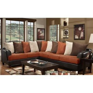 Noahs Manufacturing 1953 2 Piece Contemporary Scatter Back Sectional