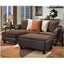 Noahs Manufacturing 1954 Two-Tone Contemporary Ottoman - Shown in Living Room Setting with Matching Sofa