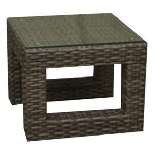 NorthCape International Avant Woven End Table w/ Glass