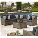 Chicago Wicker Bainbridge Outdoor Sectional - Item Number: NC275LL+SCC45+RL+9xCUSHTH16