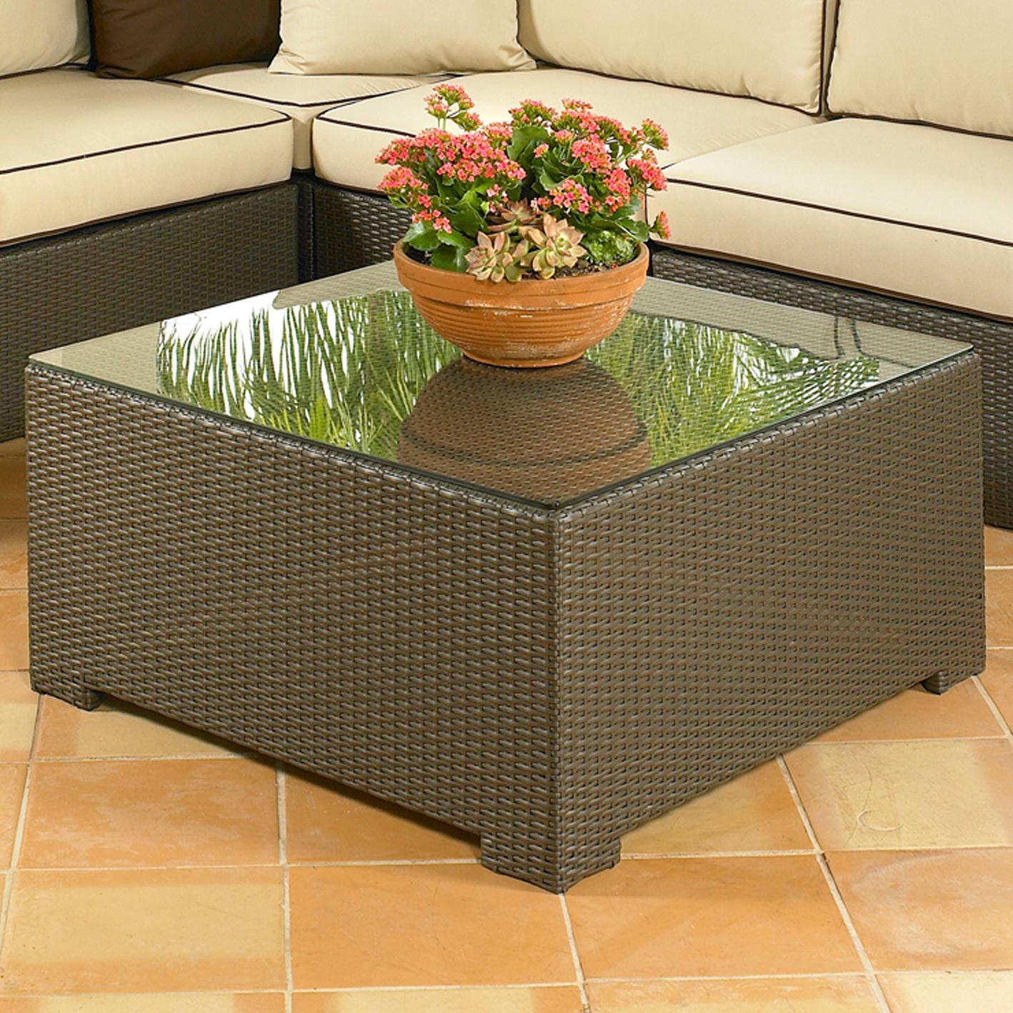 Large Square Coffee Table With Glass Top: NorthCape International Malibu NC260CT+CTGL Large Square