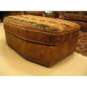 Leather Ottoman w/ nailheads