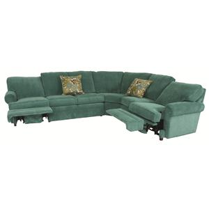 Norwalk Austin  Transitional 5 Piece Sectional with Curved Corner