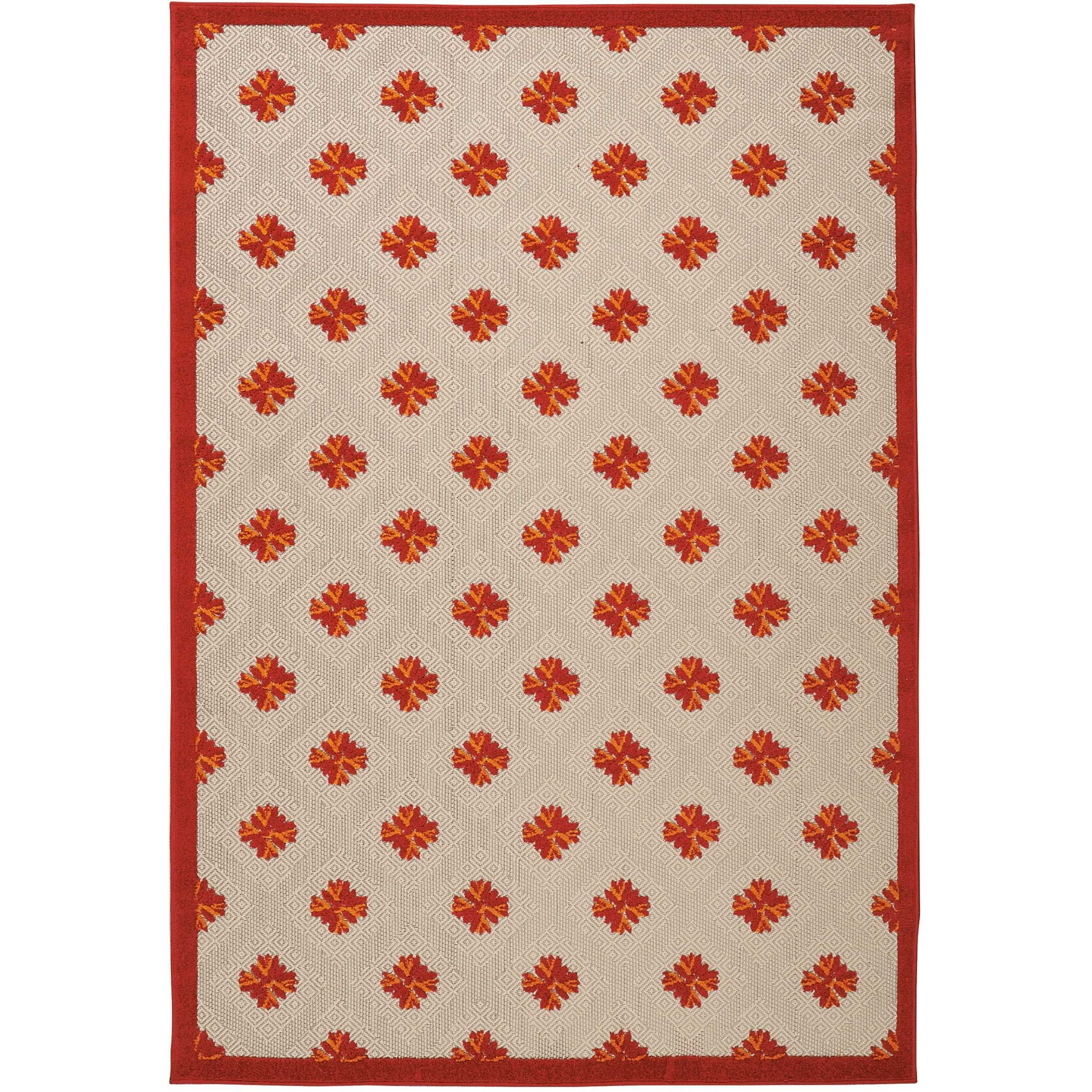 """Aloha 5'3"""" x 7'5"""" Red Rectangle Rug by Nourison at Home Collections Furniture"""