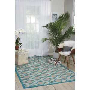 "Nourison Aloha 3'6"" x 5'6"" Blue Rectangle Rug"