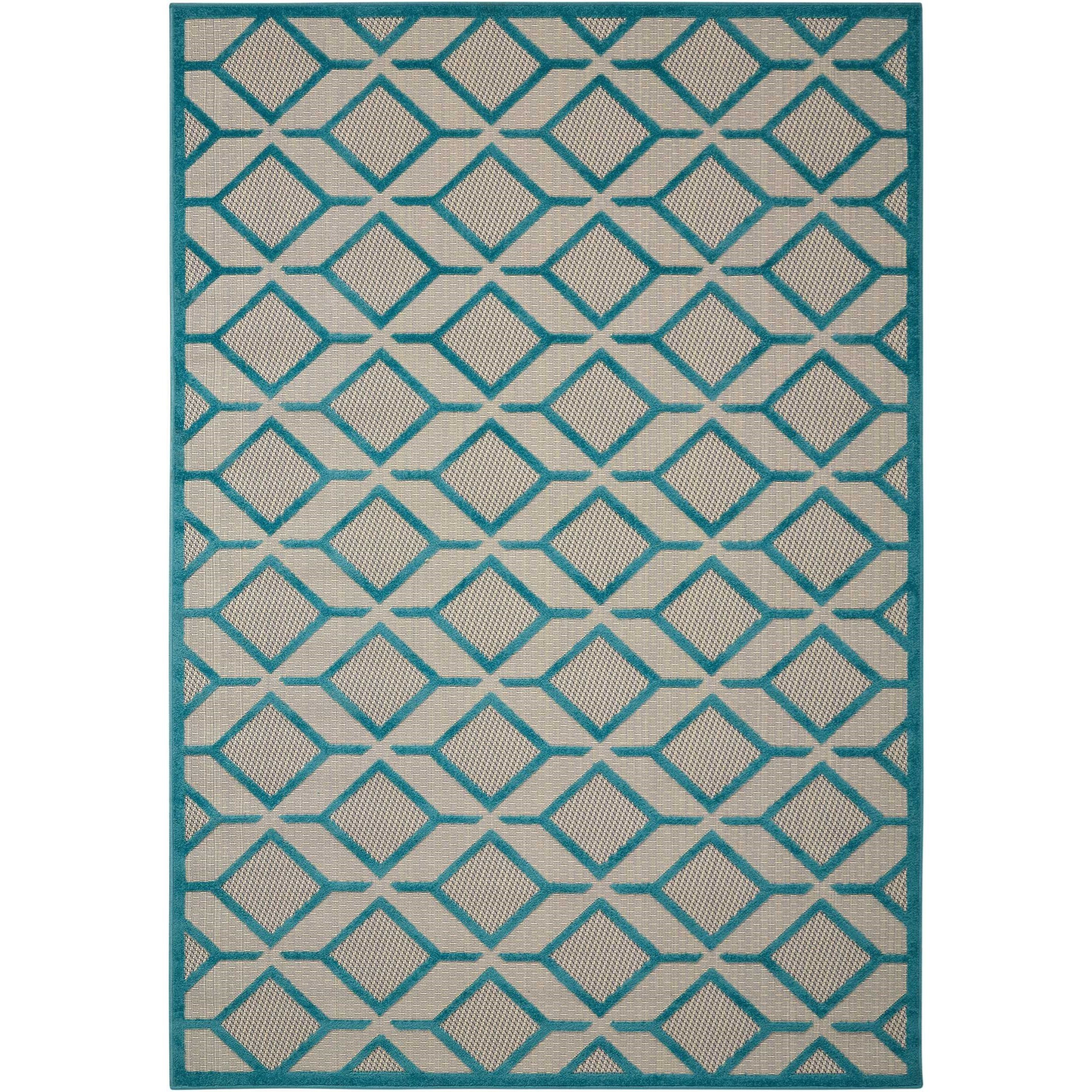 "Aloha 9'6"" x 13' Blue Rectangle Rug by Nourison at Home Collections Furniture"