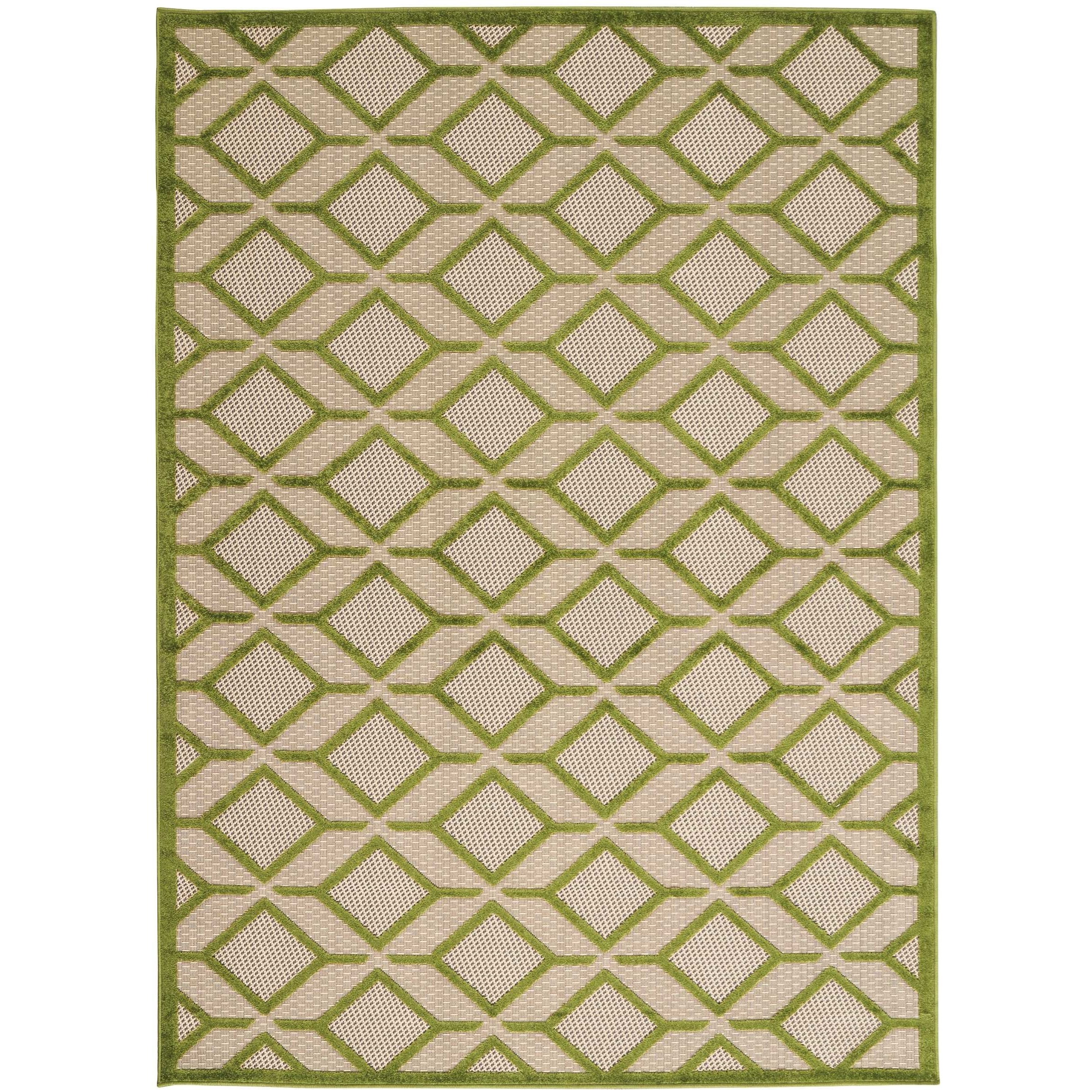 "5'3"" x 7'5"" Green Rectangle Rug"
