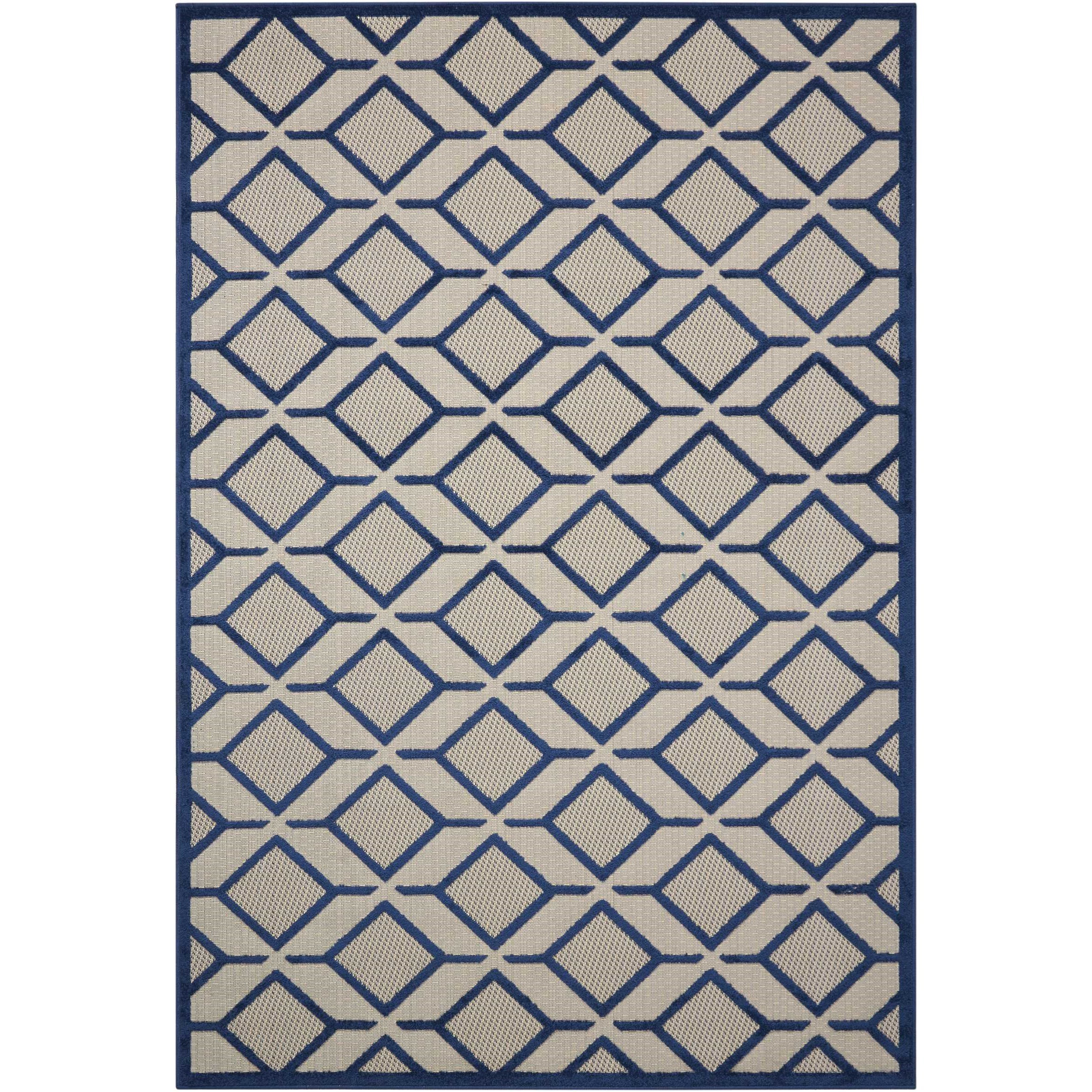 """Aloha 3'6"""" x 5'6"""" Navy Rectangle Rug by Nourison at Home Collections Furniture"""