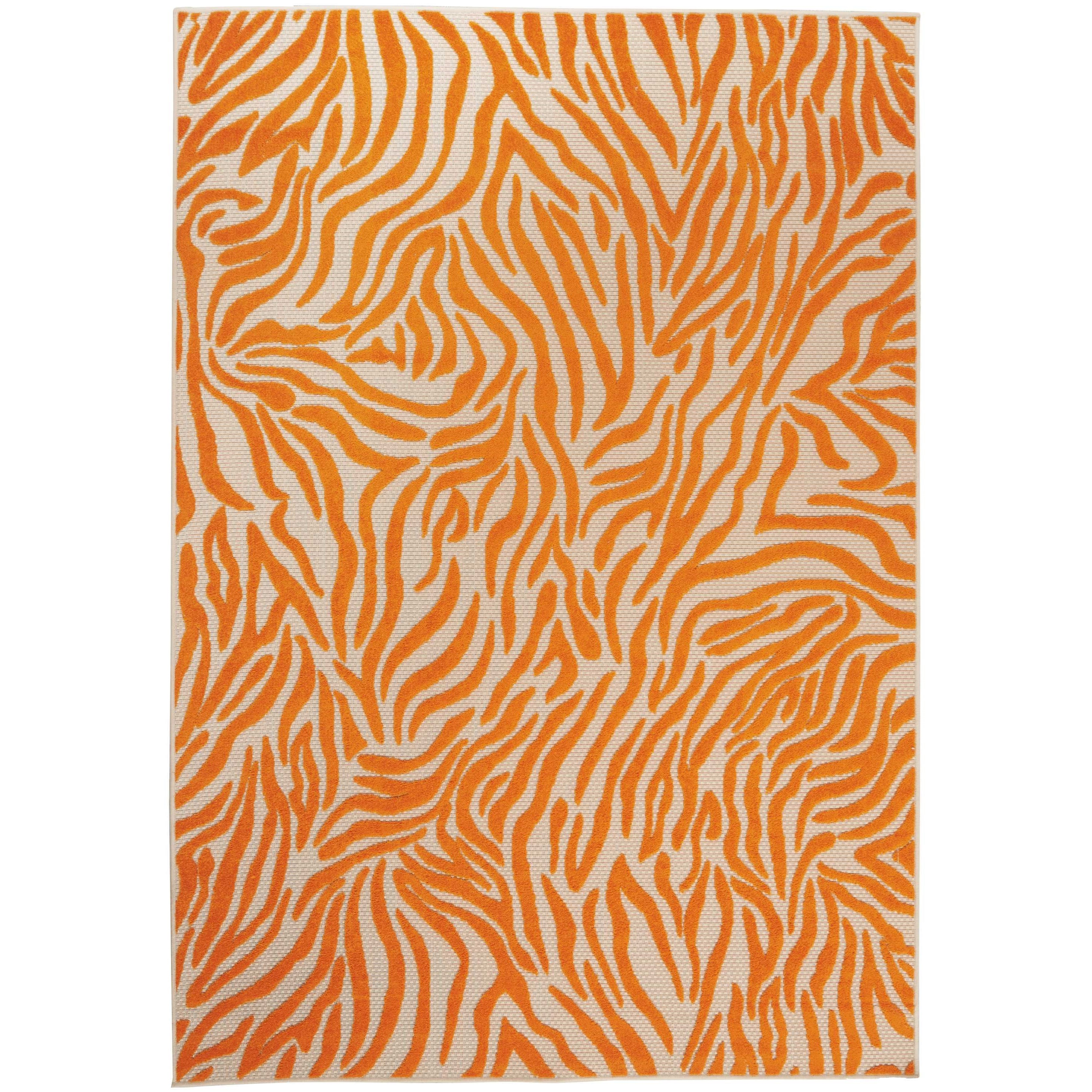 "Aloha 3'6"" x 5'6"" Orange Rectangle Rug by Nourison at Home Collections Furniture"