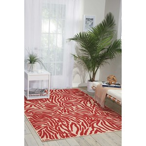 "Nourison Aloha 5'3"" x 7'5"" Red Rectangle Rug"