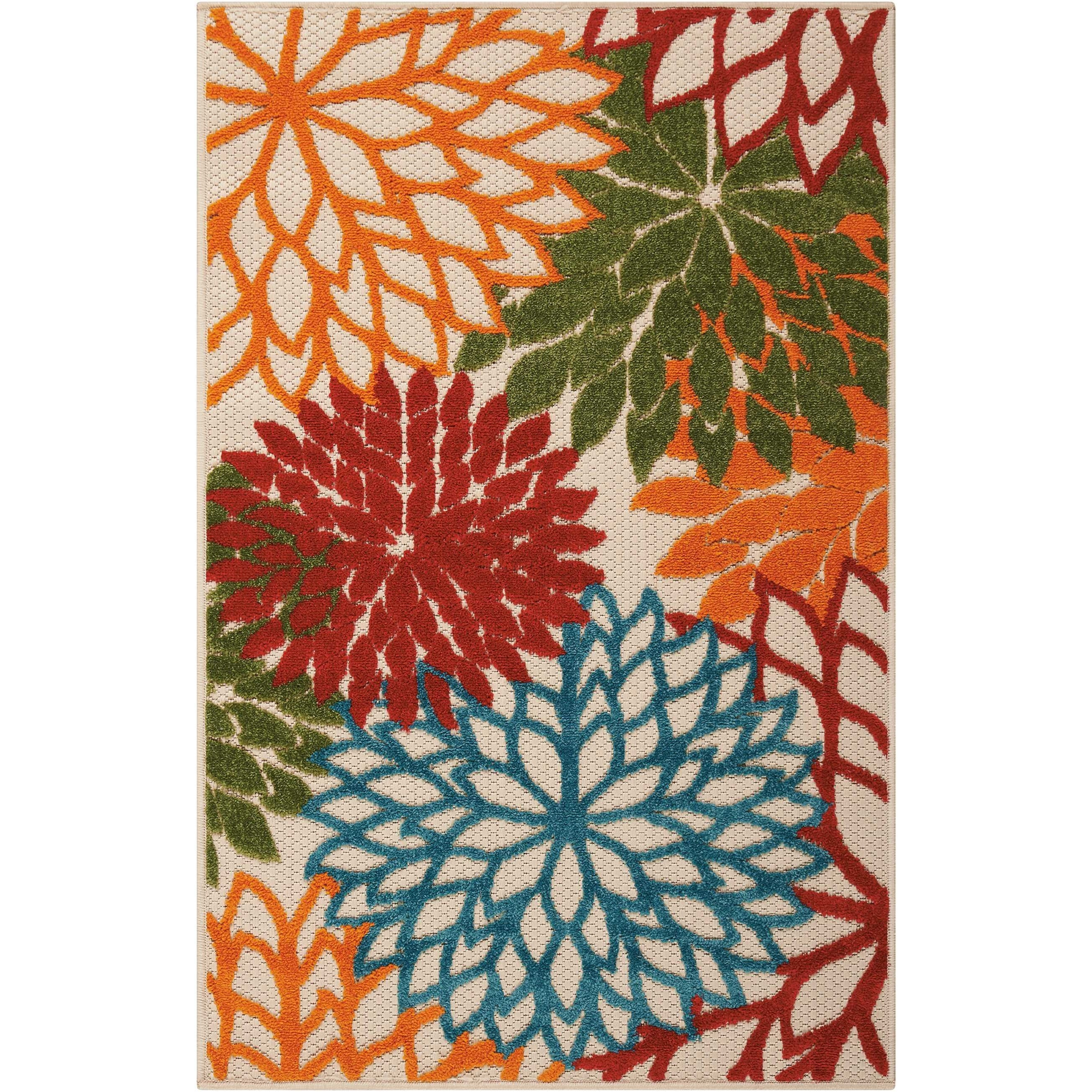 """Aloha 2'8"""" x 4' Green Rectangle Rug by Nourison at Sprintz Furniture"""