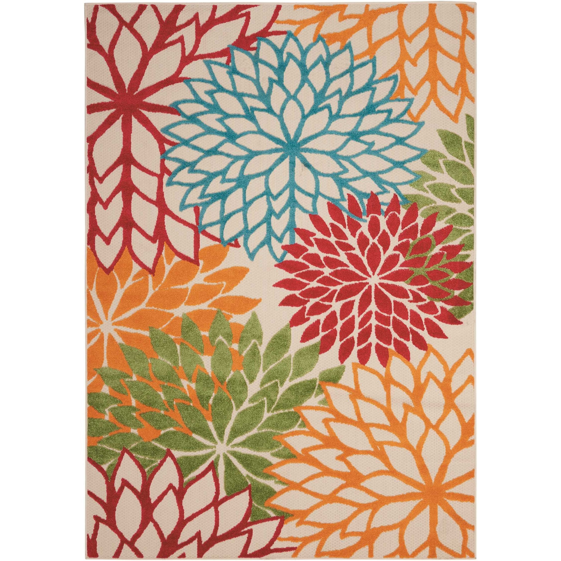 """Aloha 5'3"""" x 7'5"""" Green Rectangle Rug by Nourison at Home Collections Furniture"""
