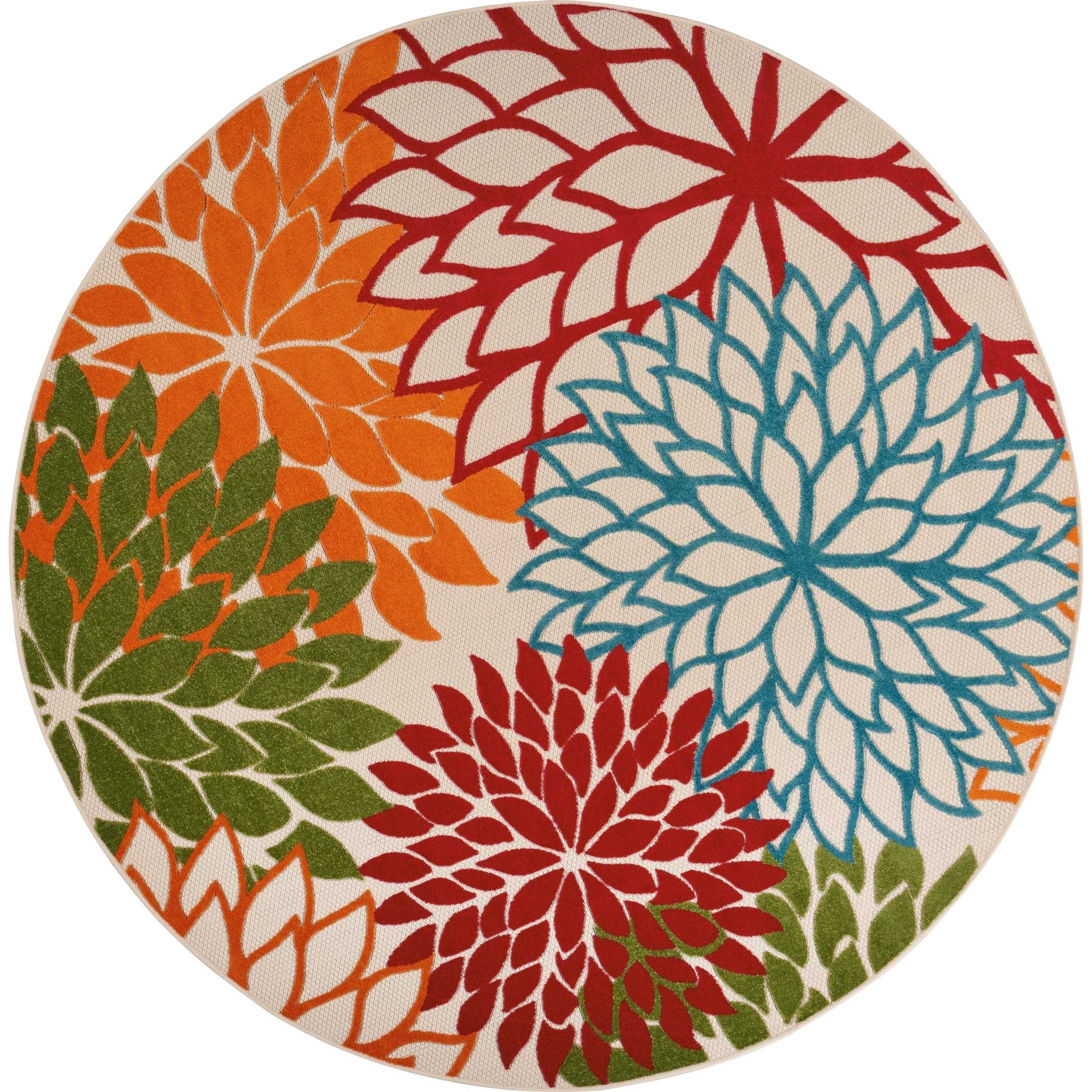 """Aloha 7'10"""" X 7'10"""" Green Rug by Nourison at Home Collections Furniture"""