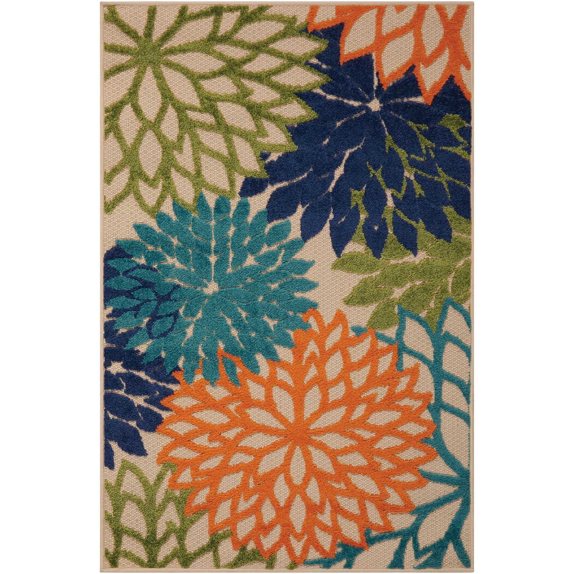 """Aloha 3'6"""" x 5'6"""" Multicolor Rectangle Rug by Nourison at Home Collections Furniture"""