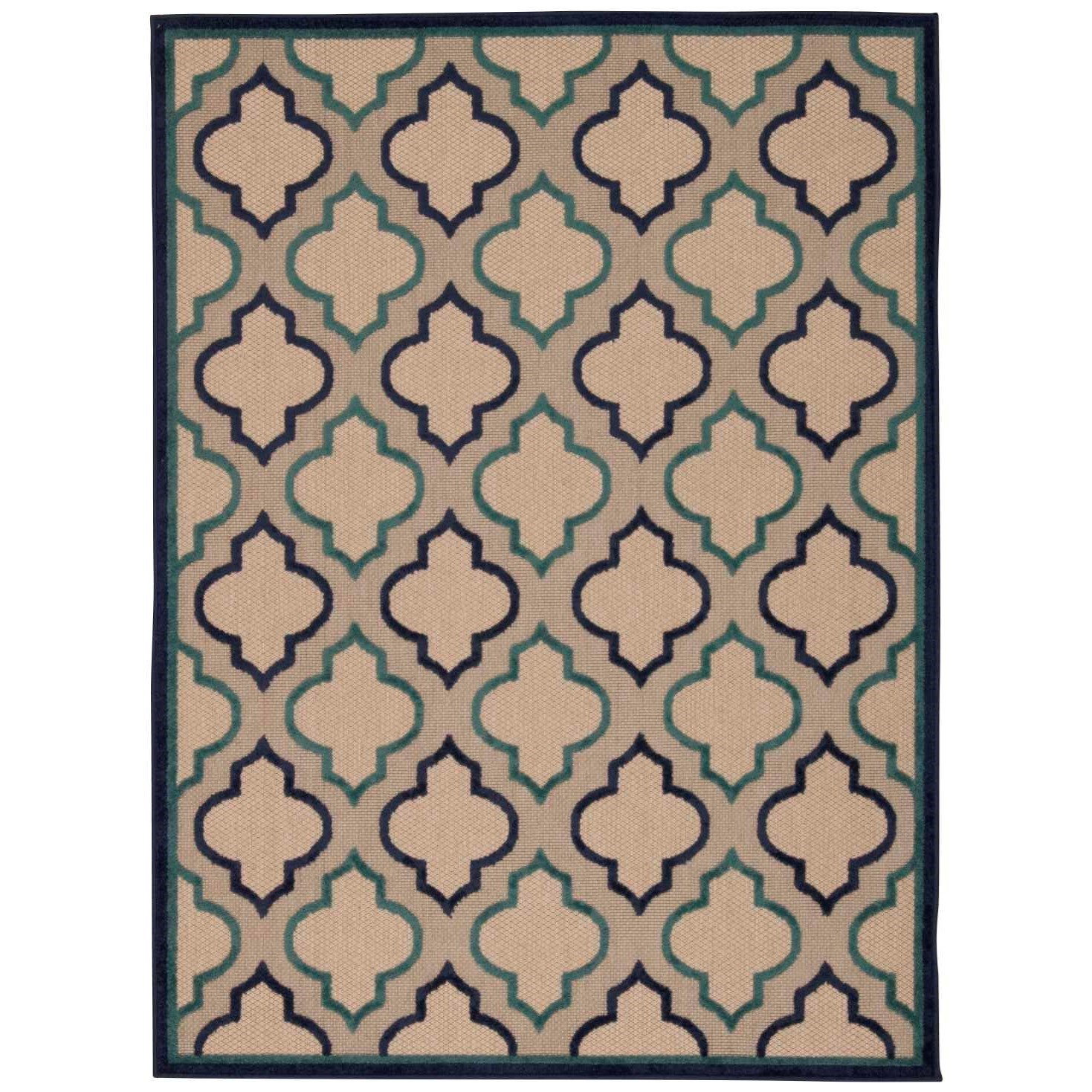 "Aloha 9'6"" x 13' Navy Rectangle Rug by Nourison at Home Collections Furniture"