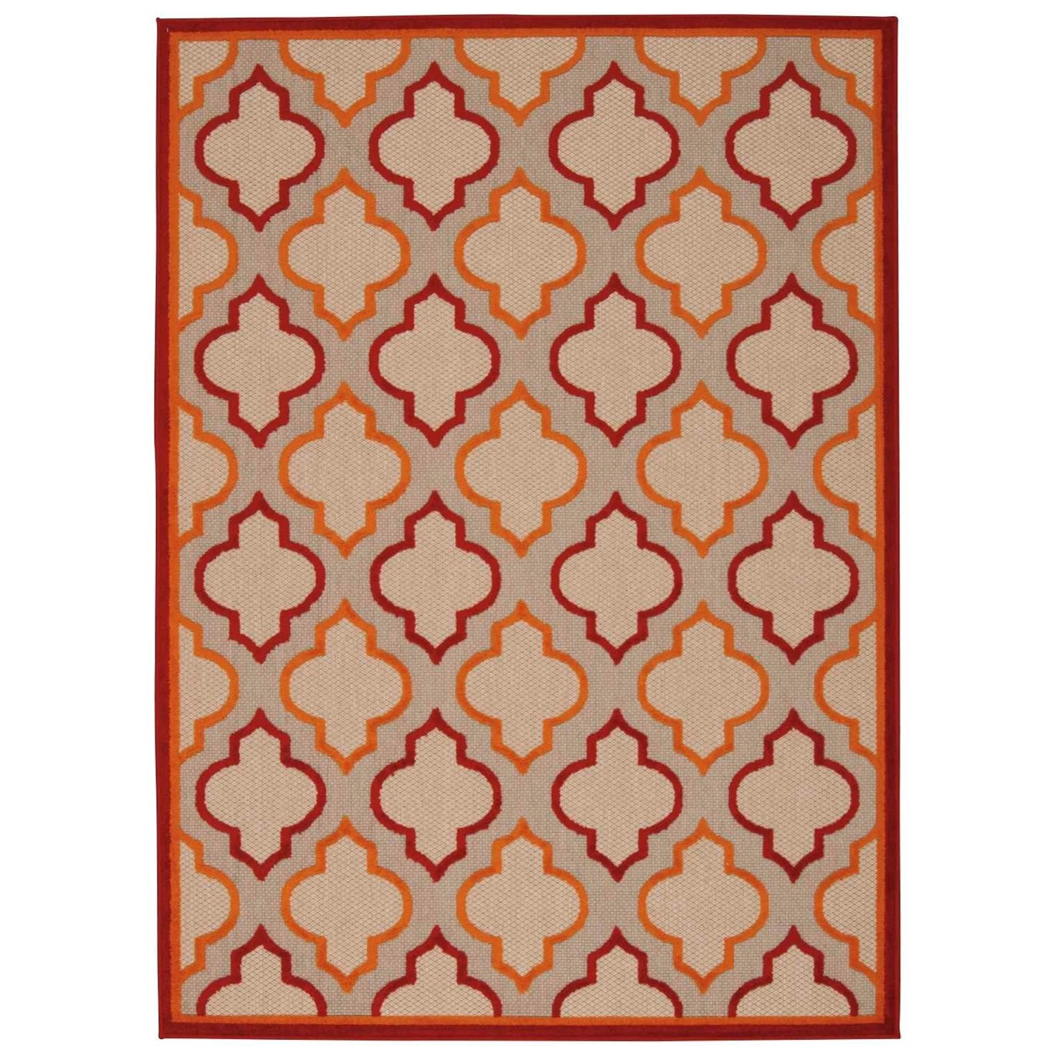"Aloha 3'6"" x 5'6"" Red Rectangle Rug by Nourison at Home Collections Furniture"