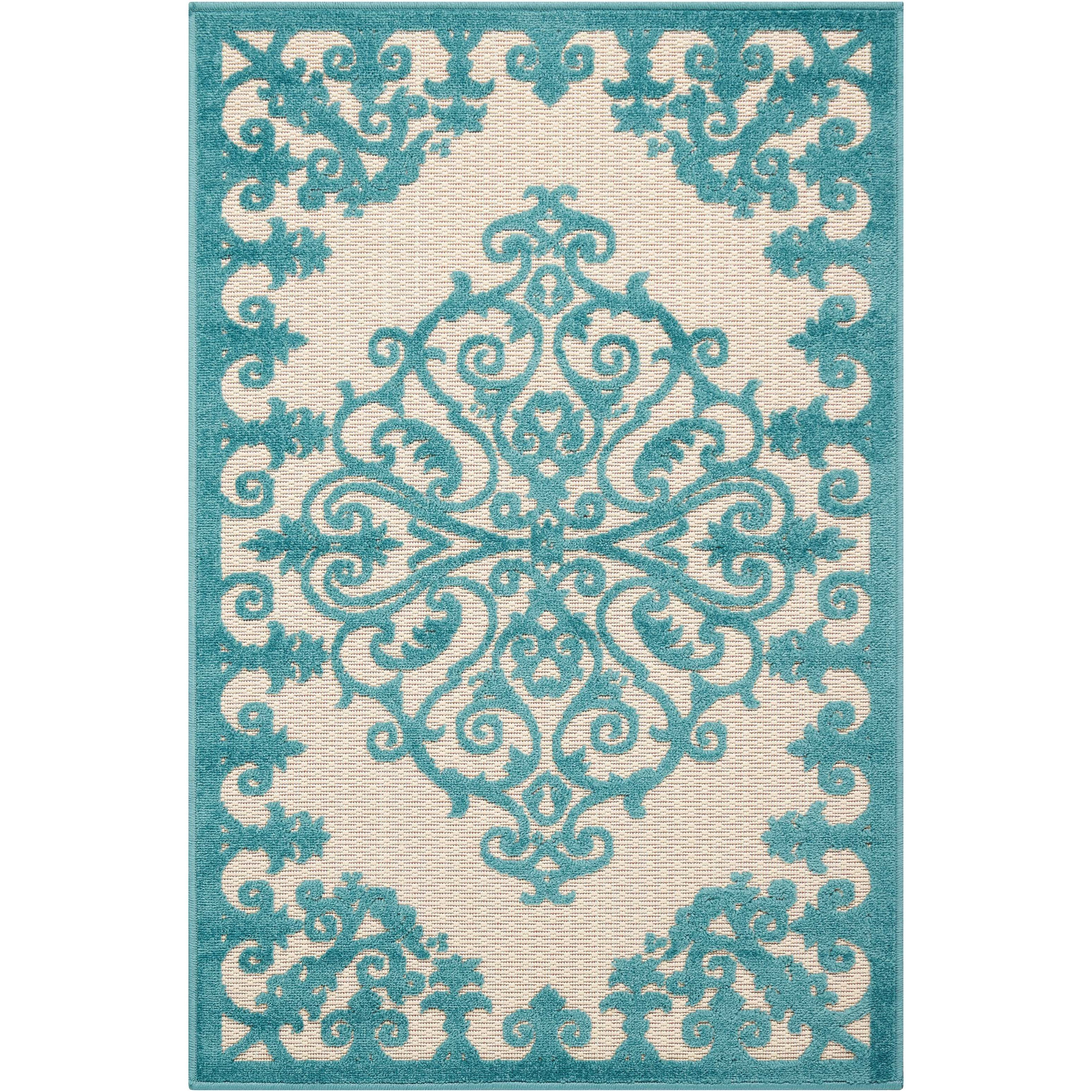 "Aloha 2'8"" x 4' Aqua Rectangle Rug by Nourison at Home Collections Furniture"