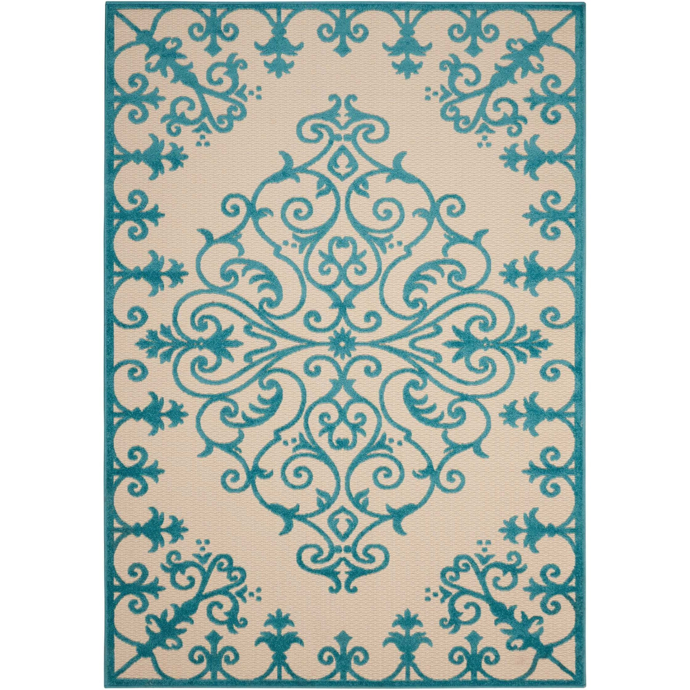 """Aloha 7'10"""" x 10'6"""" Aqua Rectangle Rug by Nourison at Home Collections Furniture"""
